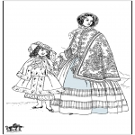 Allerlei Kleurplaten - 19e eeuwse dame 2