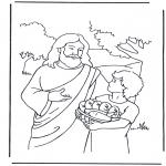 Kleurplaten Bijbel - 5 broden  en 2 vissen 4