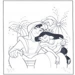 Stripfiguren Kleurplaten - Aladdin bij het vuurwerk