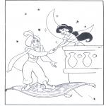 Stripfiguren Kleurplaten - Aladdin op zijn vliegende tapijt