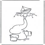 Kinderkleurplaten - Babar met bootje