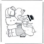 Kinderkleurplaten - Babar met sneeuwpop