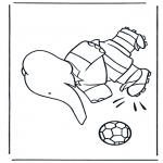 Kinderkleurplaten - Babar voetbalt