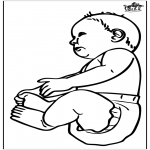 Thema kleurplaten - Baby 16