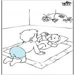 Thema kleurplaten - Baby en broertje