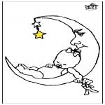 Kinderkleurplaten - Baby en maan