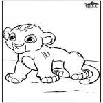 Kleurplaten Dieren - Baby leeuwtje