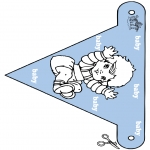Thema Kleurplaten - Baby vlaggetje 2