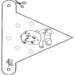 Thema Kleurplaten - Baby vlaggetje 4