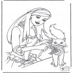 Stripfiguren Kleurplaten - Barbie en kat