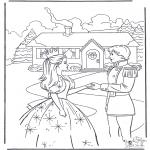 Stripfiguren Kleurplaten - Barbie en prins 2