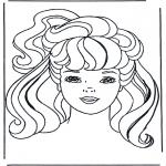 Stripfiguren Kleurplaten - Barbie hoofd