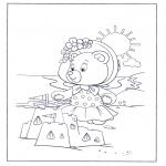 Kinderkleurplaten - Beertje aan zee