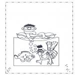Kinderkleurplaten - Bert en Ernie bij zee