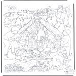 Kleurplaten Bijbel - Bij de kerststal