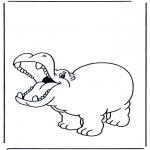 Kleurplaten Dieren - Blij nijlpaard