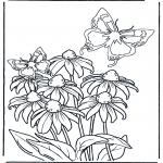 Allerlei Kleurplaten - Bloem en Vlinders