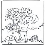 Thema Kleurplaten - Bloemen met Pasen