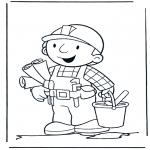 Kinderkleurplaten - Bob met bouwplaten