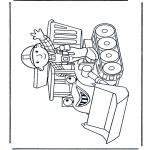 Kinderkleurplaten - Bob met bulldozer