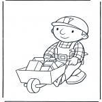 Kinderkleurplaten - Bob met kruiwagen 1