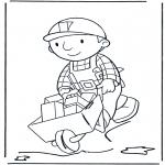 Kinderkleurplaten - Bob met kruiwagen 2