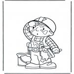 Kinderkleurplaten - Bob verft