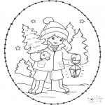 Knutselen Borduurkaarten - Borduren kerstmeisje