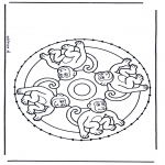 Knutselen Borduurkaarten - Borduur Dierenmandala
