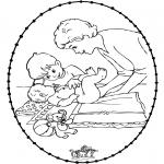 Thema Kleurplaten - Borduurkaart baby 1