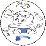 Thema Kleurplaten - Borduurkaart baby 2
