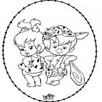 Knutselen Borduurkaarten - Borduurkaart Flintstones