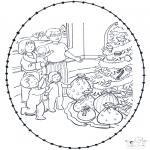 Knutselen Borduurkaarten - Borduurkaart Kerst