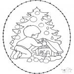Knutselen Borduurkaarten - Borduurkaart kerstboom