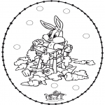 Knutselen Borduurkaarten - Borduurkaart konijn