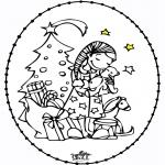 Knutselen Borduurkaarten - Borduurkaart meisje bij kerstboom