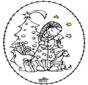 Borduurkaart meisje bij kerstboom