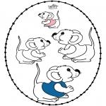 Knutselen Borduurkaarten - Borduurkaart muizen
