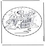 Knutselen Borduurkaarten - Borduurkaart Stripfiguur 8