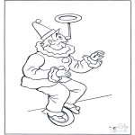 Allerlei Kleurplaten - Clown op fiets