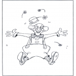 Allerlei Kleurplaten - Clown springt