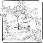 Kleurplaten dieren - Cowboy met paard