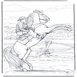 Allerlei Kleurplaten - Cowboy op paard