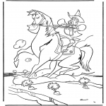 Kleurplaten Dieren - Cowboy te paard
