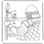 Kleurplaten Bijbel - David en Goliath 1