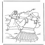 Kleurplaten Bijbel - David en Goliath 2