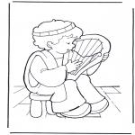 Kleurplaten Bijbel - David op zijn Lier