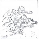 Stripfiguren kleurplaten - De neefjes als kikker