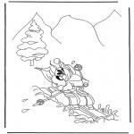 Stripfiguren Kleurplaten - Diddl op wintersport
