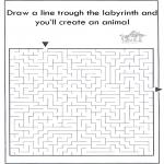 Knutselen - Dier labyrint kleuren 10